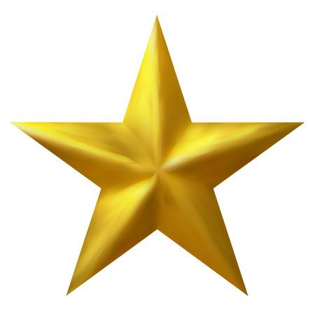 Gouden Traditionele kerst ster geïsoleerd op een witte achtergrond - Grafisch Illustratie