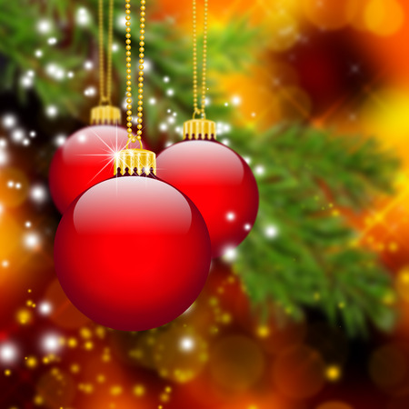 holiday season: Three Red Christmas Balls hanging in front of Abstract Fir Tree Branch with Bokeh Effect Background - Holiday Season, Greeting Card Template.