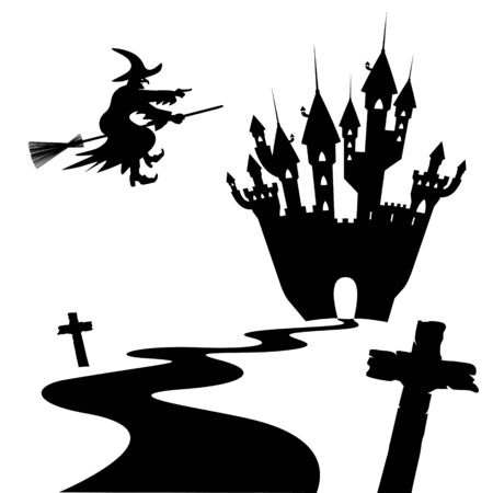 sibyl: Halloween Silhouette Collection Set - Black Shapes - Vector Illustration - Witch, Cross, Castle