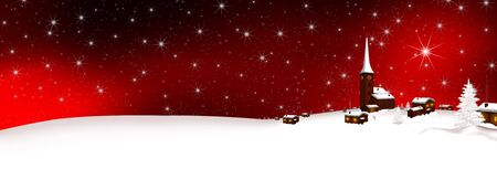 website banner: Panoramic Snowy Mountain Village Banner with Starry Red Background. Winter Landscape Backdrop with Houses and Church by Night. Christmas Card Template.