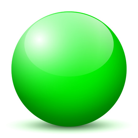 Beautiful Green 3D Vector Sphere with Smooth Shadow and White Background - Marble, Glossy, Glass, Ball, Pearl, Globe - With Bright Reflection