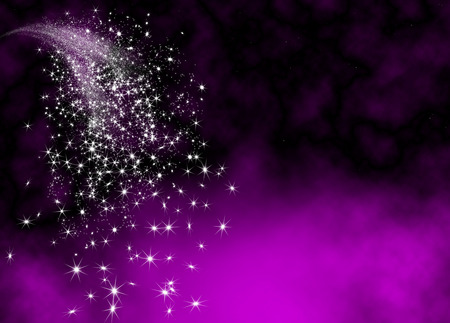 Abstract Bright and Glittering Falling Star Tail - Shooting Star with Twinkling Star Trail on Violet Background. Sparkling Starlets.