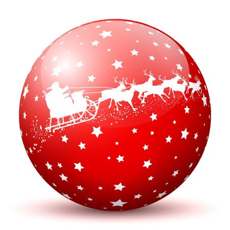 red sphere: Red 3D Sphere with White Starlets and Santa Claus with Reindeer Sleigh Texture on White Background. Holiday Season - Christmas Greeting Card - Symbol, Decoration, Decor, Icon.
