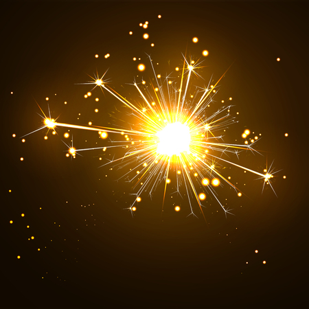 flamy: Glowing, Sparkling and Blistering Sparkler on Dark Brown Background. New Years Eve Design Template. Abstract Burning Bengal Light Vector Illustration.