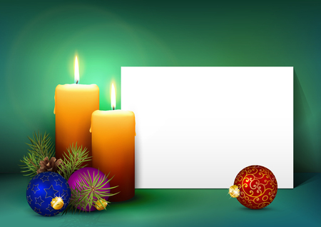 advent: Two Candles with White Paper Panel on Turquoise  Background - Advent, Christmas Greeting Card Template with Free Space for Wishes. Second Advent Candle for Christmas Season - Backdrop Decoration.