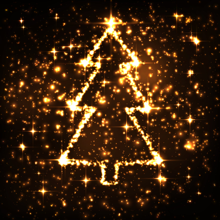 particle: Abstract Golden Sparkling and Twinkling Night Sky with Glowing fir tree symbol. Christmas Season Traditional Symbol - Starlight Background. Magical Star Particle Light Effect. X-Mas Seasonal.