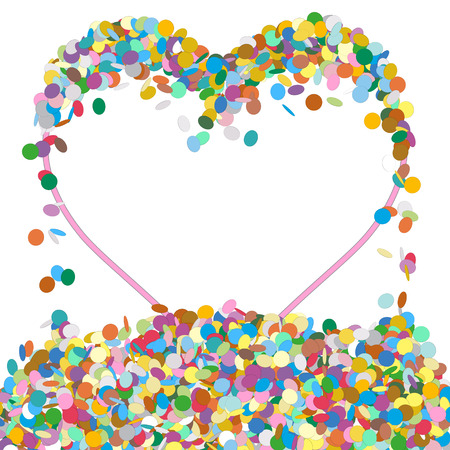 childrens birthday party: Abstract Colourful Heart Shaped Text Panel with Confetti Snippets - Vector Illustration with White Background - Dots, Points, Decoration