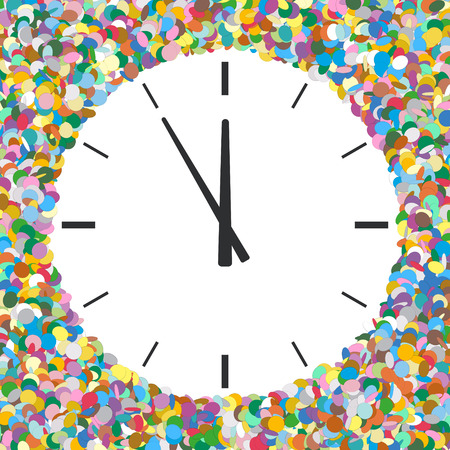 text area: Rounded Free Text Area Formed of Colourful Confetti with Clock Symbol - New Year Greeting Card -  Five Before Twelve - Dots, Polka Dots, Points Illustration