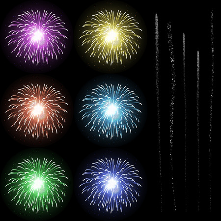 pyrotechnics: Colourful Firework Rocket Explosion Design Template with Rocket Tails - Set - New Years Eve Symbols - Happy New Year Collection. Rocket Burst, Pyro, Pyrotechnics. Party, Event, Celebration Icons
