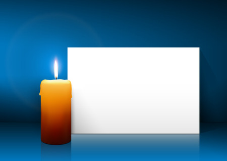 free christmas background: Single Candle with White Paper Panel on Blue Background - Advent, Christmas Greeting Card Template with Free Space for Wishes. First Candle for Christmas Season.