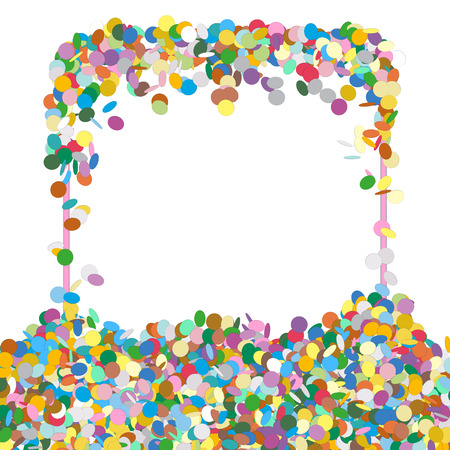 shred: Abstract Colourful Squarish Shaped Text Panel with Confetti Snippets - Vector Illustration with White Background - Dots, Points, Decoration