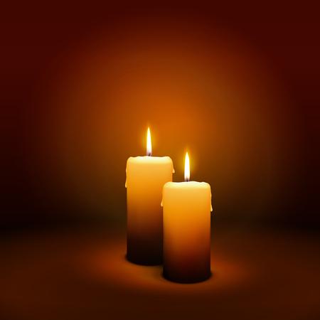 2e dimanche de l'Avent - deuxième bougie à l'atmosphère chaleureuse - Candlelight Christmas Card Template Banque d'images - 46392100