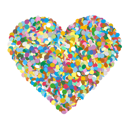 Abstract Heart Shaped Colourful Vector Confetti Heap on White Background - Dots, Polka Dots, Points, Symbol, Icon Illustration