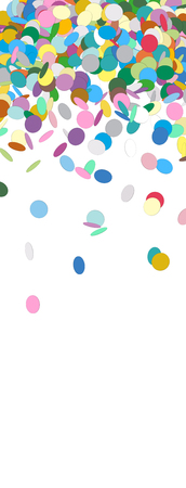 vertical banner: Vertical Vector Banner with Raining Confetti and Free Space for Design Elements at the Bottom - Dots, Points, Deco, Polka Dots - Backdrop Falling Particle Design - Website Head Illustration