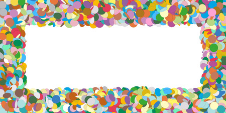 postcards: Abstract Colourful Horizontal Vector Confetti Panorama Frame - Formed as Rectangle Banner - Free Space for Advertising and Text - Backdrop Template