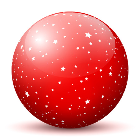 smooth shadow: Red 3D Sphere with Mapped White Starlets Texture on White Background and Smooth Shadow. Holiday Season - Christmas Symbol, Decoration, Decor, Icon.