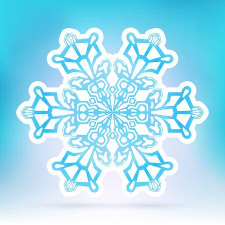 seasonal symbol: Abstract Snowflake Symbol with Ice Blue Background Gradient - Beautiful Filigree Snow Flake Icon Label with White Border - Seasonal Winter Design Sticker Illustration