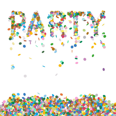 birthday backdrop: Abstract Confetti Word - PARTY Letter - Colourful Vector Illustration with Coloured Falling Paper Snippets - Particle Design Illustration