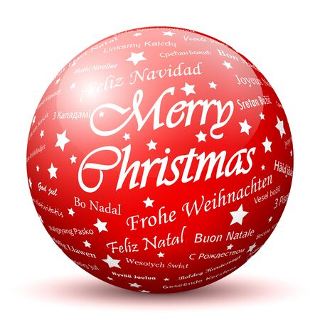 x mas: Red 3D Sphere with Mapped Merry Christmas Texture on White Background and Smooth Shadow. Holiday Season - Christmas Greeting Card - Symbol, Decoration, Decor, Icon.