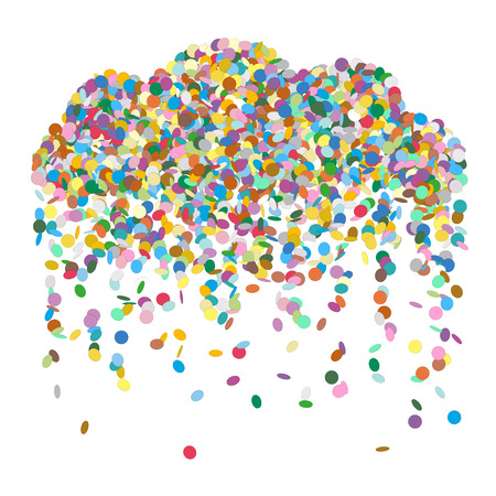 raining: Abstract Raining Confetti Cloud - Colourful Vector Illustration with Coloured Falling Paper Snippets - Particle Design