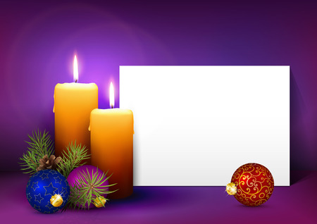 text room: Two Candles with White Paper Panel on Purple, Violet Background - Advent, Christmas Greeting Card Template with Free Space for Wishes. Second Advent Candle for Christmas Season - Backdrop Decoration.