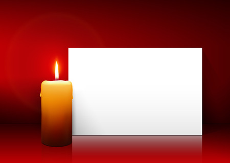 Single Candle with Whitepaper Panel on Red Background - Advent, Christmas Greeting Card Template with Freespace for Wishes. First Candle for Christmas Season.
