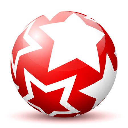 mapped: Red 3D Sphere with Mapped White Star Texture on White Background and Smooth Shadow. Holiday Season - Christmas Symbol, Decoration, Decor, Icon. Illustration
