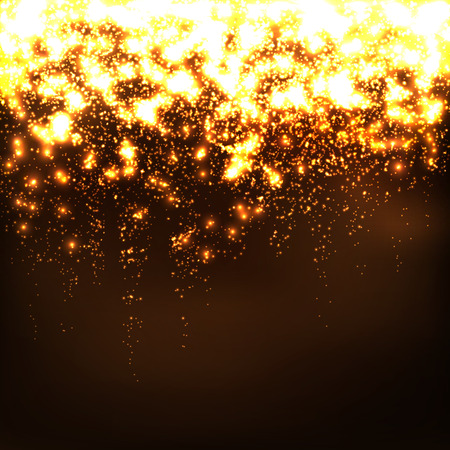 shimmering: Abstract Falling Stars - Golden Bright Glowing Particle Effect. Glittering, Twinkling, Sparkling and Glistening Wallpaper Background. Free Space for Text or Advertising. Greeting Card Template.