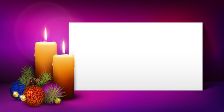 advent candles: Two Candles with White Panorama Paper Panel and Violet Background - Advent, Christmas Greeting Card Template - Free Space for Wishes. Second Advent Candle for Christmas Season - Website Head Banner.