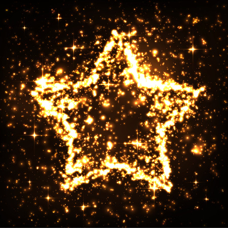 glowing star: Abstract Golden Starry Shaped Glowing Particles Symbol Background - Twinkling, Glowing and Glittering Effect. Christmas or New Years Eve Card Template with Starlets. Night Sky, Star Cluster - X-Mas.