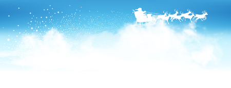 clouded sky: Santa Claus Flying Above The Clouds with Reindeer Sled Panorama - Blue Azure Sky with Star Trail - Star Cluster and Antler in White Colour. Landscape Banner. Illustration