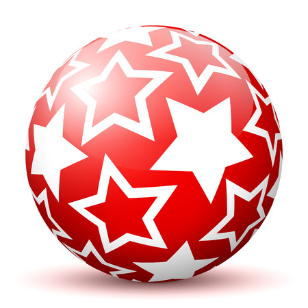 christmas star background: Red 3D Sphere with Mapped White Star Texture on White Background and Smooth Shadow. Holiday Season - Christmas Symbol, Decoration, Decor, Icon. Illustration