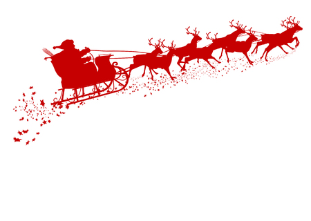 xmas: Santa Claus with Reindeer Sleigh - Red Silhouette - Outline Shape of Sledge, Sled - Holiday Season Symbol - Christmas, XMas, X-Mas. Greeting Card Template.