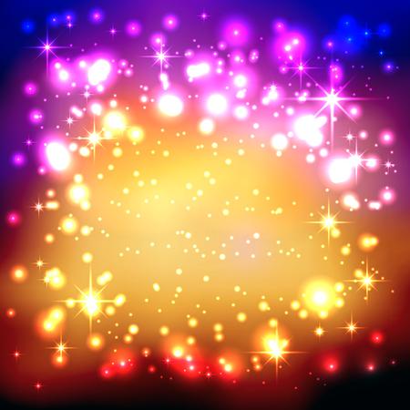 Bunte Farbverlauf Hintergrund mit funkelnden und glitzernden Sternen. Freier Platz für Werbung oder Text. Grußkarte, Einladungskarte. New Years Eve Celebration und Weihnachtszeit Hintergrund Vorlage. Illustration