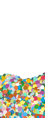 free space: Vertical Vector Banner with Confetti Heap on the Ground and Free Space for Design Elements at the Top - Dots, Points, Deco, Polka Dots - Backdrop Particle Design