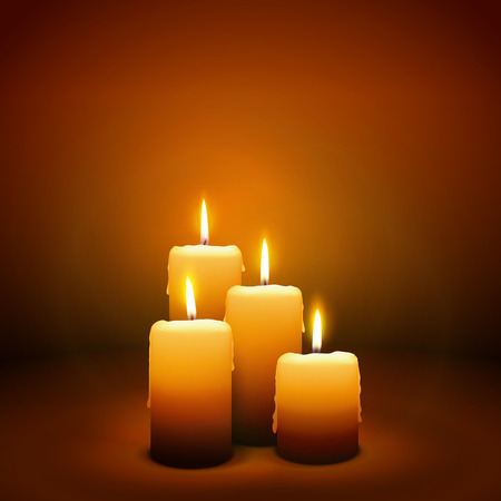 velas de navidad: Cuarto Domingo de Adviento - Cuarta Vela con ambiente c�lido - Candlelight Plantilla de la tarjeta de Navidad Vectores