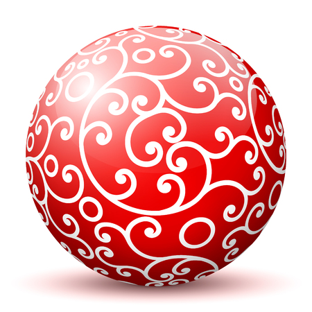 artful: Red 3D Sphere with Mapped White Aesthetic Filigree Texture Pattern on White Background and Smooth Shadow. Holiday Season - Christmas Symbol, Decoration, Decor, Icon. Illustration