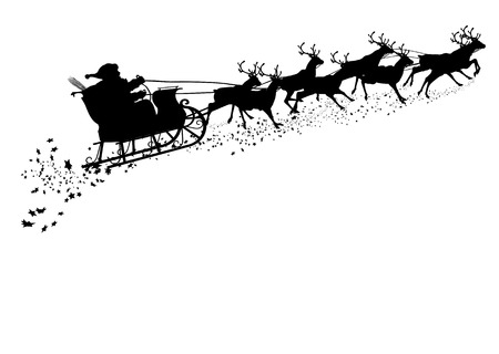xmas: Santa Claus with Reindeer Sleigh - Black Silhouette - Outline Shape of Sledge, Sled - Holiday Season Symbol - Christmas, XMas, X-Mas. Greeting Card Template.
