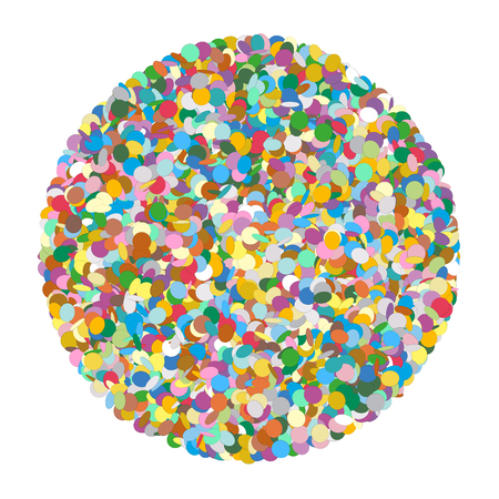 shred: Abstract Rounded Colourful Vector Confetti Heap Shape on White Background - Dots, Polka Dots, Points, Symbol, Icon - Template Illustration