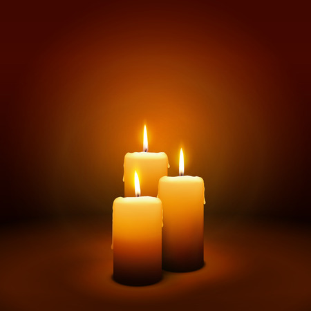 3e dimanche de l'Avent - Troisième Bougie à l'atmosphère chaleureuse - Candlelight Christmas Card Template Banque d'images - 46392139