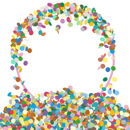 chads: Abstract Colourful Round Shaped Text Panel with Confetti Snippets - Vector Illustration with White Background - Dots, Points, Decoration
