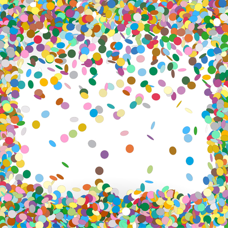 Colorful Confetti Background Template - Falling Chads Backdrop Vector Illustration