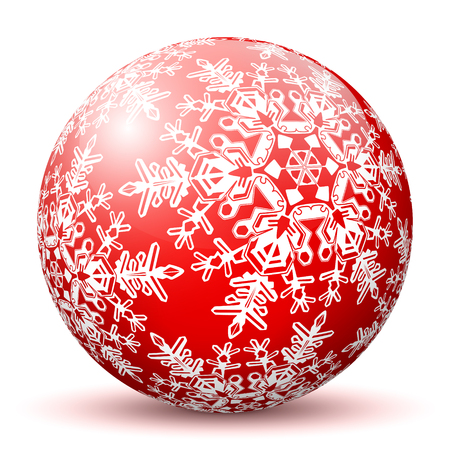 mapped: Red 3D Sphere with Mapped Snowflake Texture on White Background and Smooth Shadow. Holiday Season - Christmas Greeting Card - Symbol, Decoration, Decor, Icon.