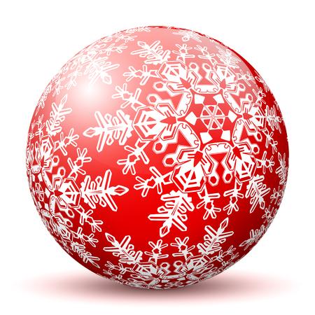 copo de nieve: Red Esfera 3D con textura Copo de nieve asignada en el fondo blanco y sombra suave. Holiday Season - Tarjeta de felicitación de Navidad - Símbolo, Decoración, Decoración, Icono. Vectores