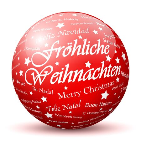 mapped: Red 3D Sphere with Mapped Merry Christmas Texture and Smooth Shadow in German Language. Holiday Season - Christmas Greeting Card - Symbol, Decoration, Decor, Icon.