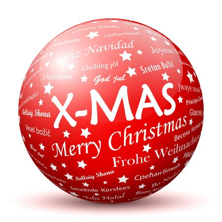 xmas decoration: Red 3D Sphere with Mapped White X-MAS Texture Pattern on White Background. Holiday Season - Christmas Greeting Card - Xmas, Symbol, Decoration, Decor, Icon. Illustration