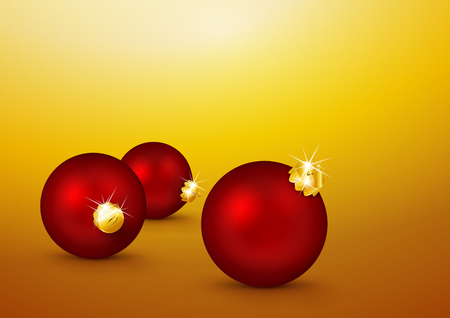 xmas card: Three Red Christmas Balls lying on the Yellow Gold Background. Holiday Season, Greeting Card Template. Backdrop Template for Xmas, X-Mas Illustration