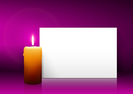 Single Candle with White Paper Panel on Purple, Violet Background - Advent, Christmas Greeting Card Template with Free Space for Wishes. First Candle for Christmas Season.