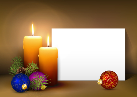 advent: Two Candles with White Paper Panel on Light Brown Background - Advent, Christmas Greeting Card Template with Free Space for Wishes. Second Advent Candle for Christmas Season - Backdrop Decoration.