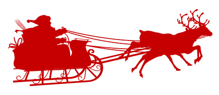 reindeers: Santa Claus with Reindeer Sleigh - Red Silhouette - Outline Shape of Sledge, Sled - Holiday Season Symbol - Christmas, XMas, X-Mas. Illustration